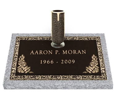 Bronze Headstone 24x12 Individual with Vase