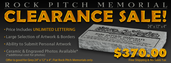 Huge Sale On 24x12x4 Rock Pitch Flat Memorials