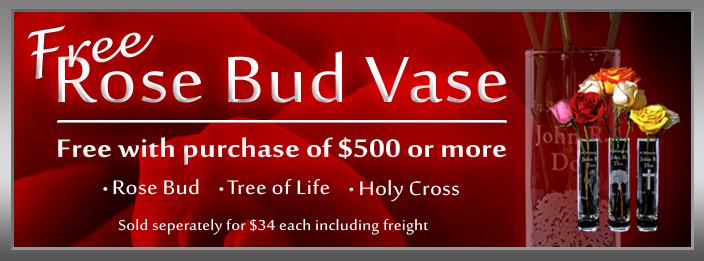 Free rose bud vase with purchase over $425.00