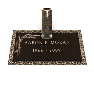 Bronze Headstone 24x12 Individual with Vase without Base