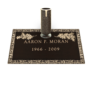 Bronze Headstone 24x14 Individual with Vase without Base