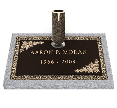 Bronze Headstone 24x14 Individual with Vase
