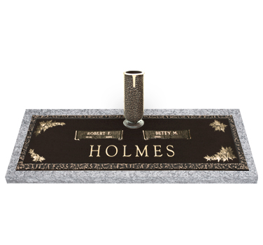 Bronze Headstone 36x13 Companion with Vase