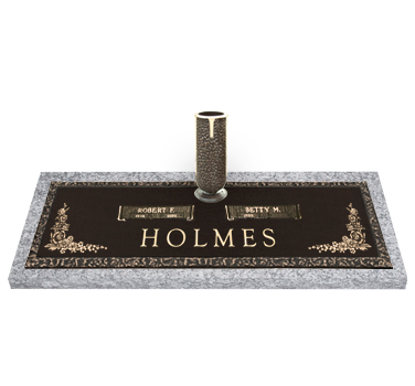 Bronze Headstone 44x14 Companion with Vase